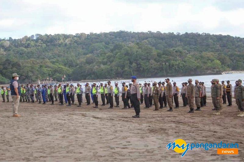 Apel Gabungan Sosialisasi Protokol Kesehatan di Objek Wisata Pantai Pangandaran, Wisatawan Tanpa Masker Siap Ditindak Tegas