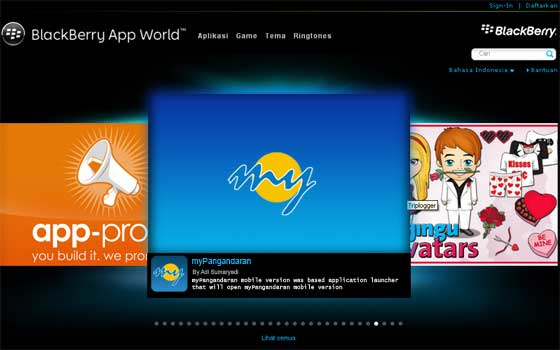 Gratis,myPangandaran Hadir di BlackBerry Apps Word