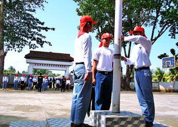 Intip Latihan Pasukan Pengibar Bendera Pangandaran