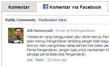 myPangandaran Tambahkan Fitur Facebook Comment