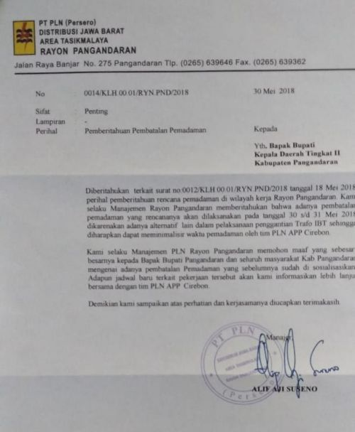 Sempat Ramai, Pemadaman Listrik di Pangandaran  Akhirnya Dibatalkan