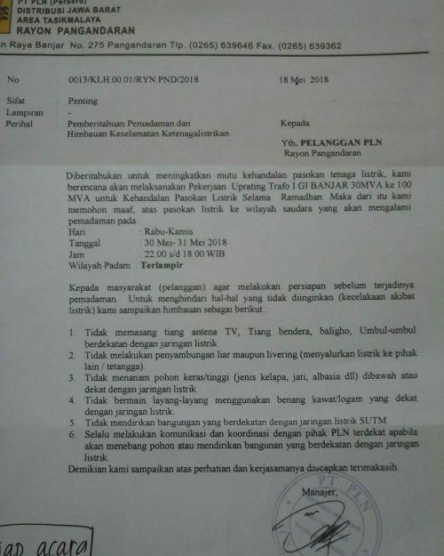 Sejumlah 7 Kecamatan di Pangandaran, Akan Alami Pemadaman Arus Listrik