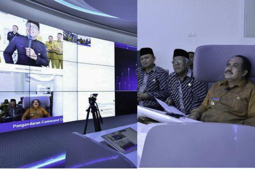 Sosialisasikan Cegah Covid-19,  Gubernur Jawa Barat Tele Conference Dengan Bupati Pangandaran