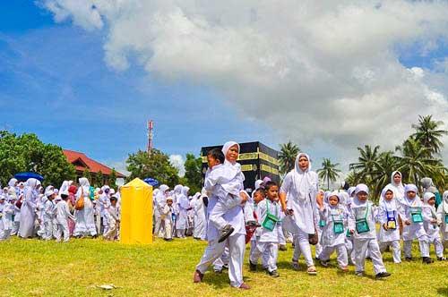 TK dan PAUD se Kabupaten Pangandaran Mengikuti Latihan Manasik Haji